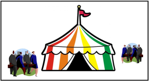 Big tent - with people